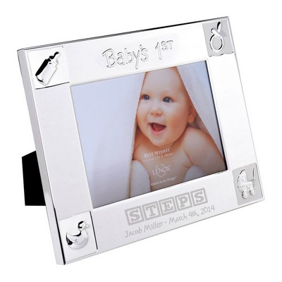 Babys First Personalized 5x7 Silver Plated Picture Frame