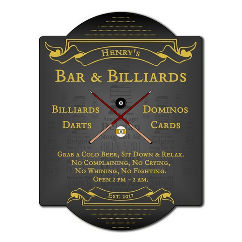 Bar and Billiards Game Room Wall Sign