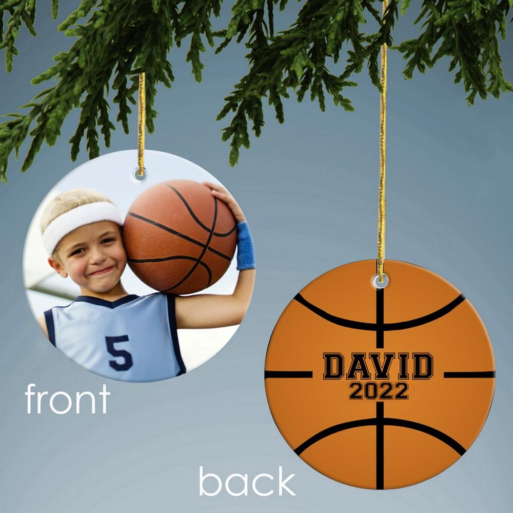 Basketball Design Personalized Ceramic Christmas Ornament