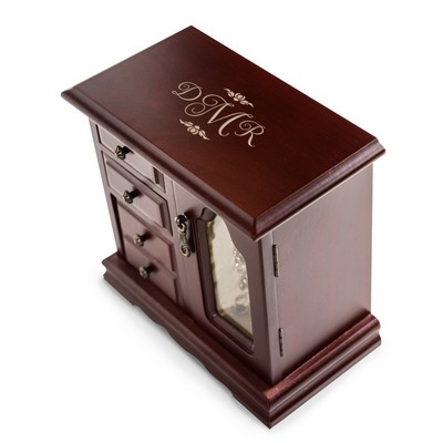 Beautiful Monogrammed Rosewood Finish Fentre Jewelry Box