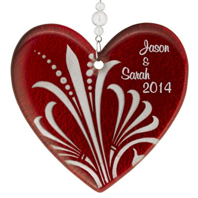 Beautiful Red Heart Personalized Glass Ornament