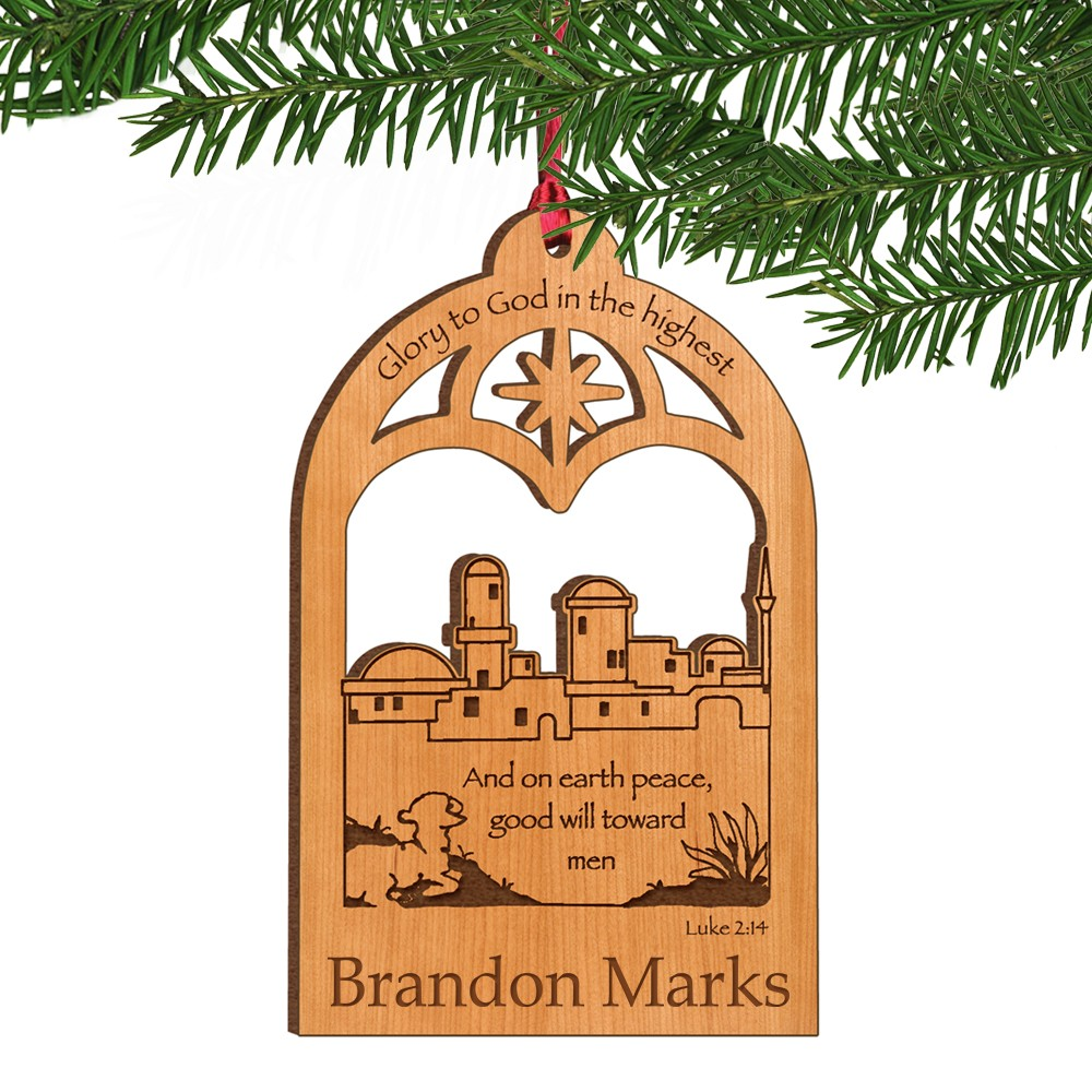 Lawyer christmas ornaments - Bethlehem Town Personalized Wooden Christmas Ornament