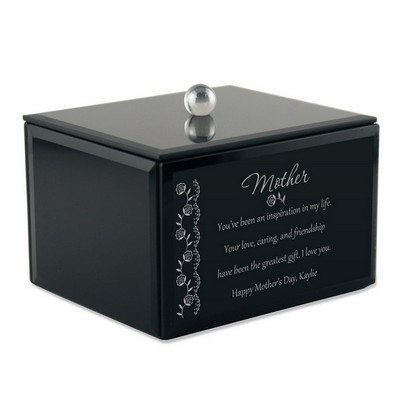 Black Glass Personalized Keepsake Box for Mom