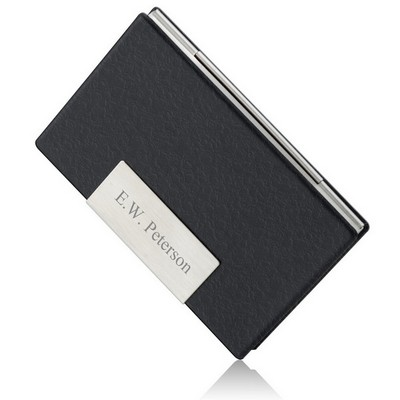 Black Leather Personalized Business Card Case