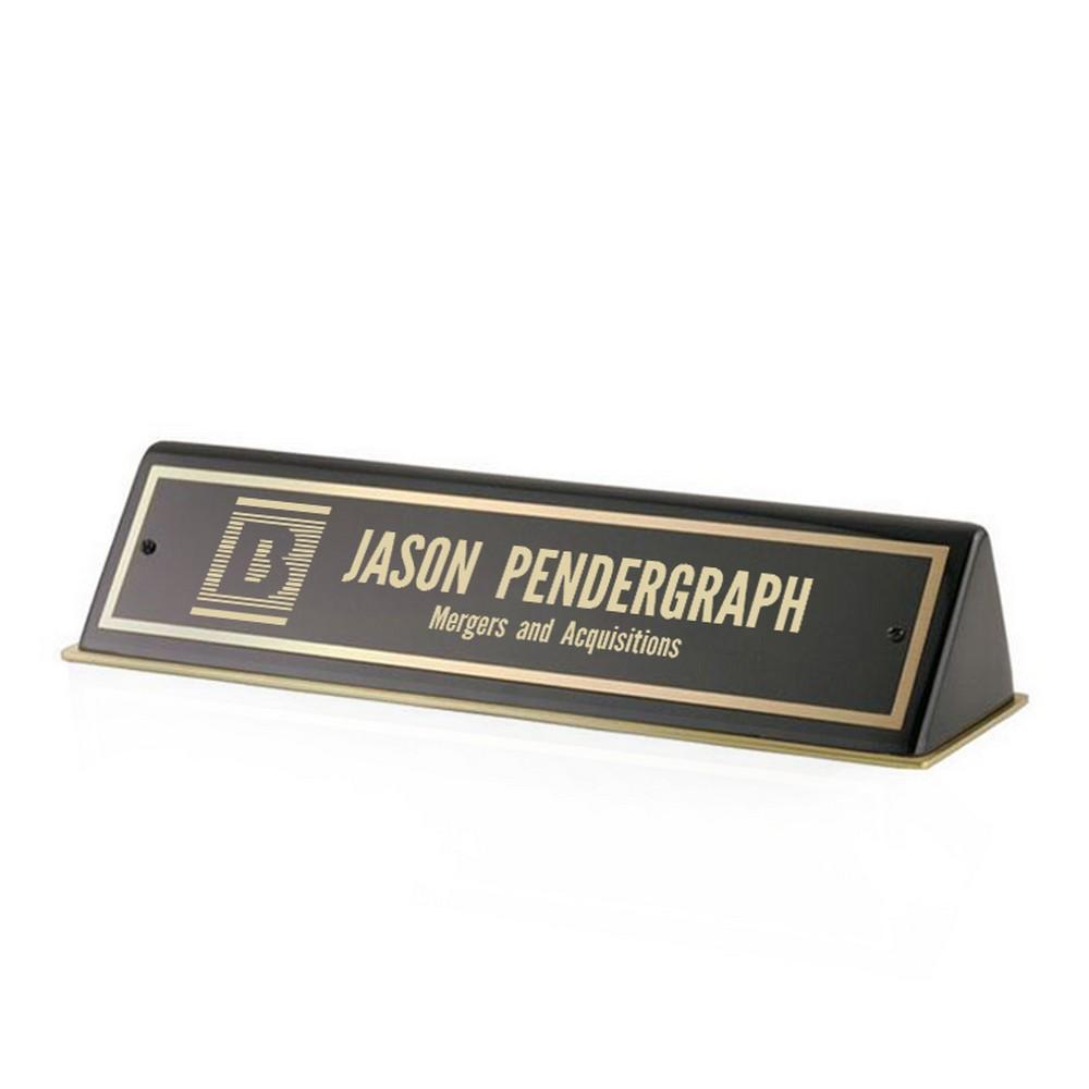 Black Piano Finish Corporate Office Desk Nameplate