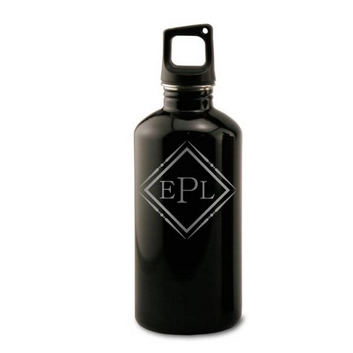 Black Stainless Steel Monogrammed Water Bottle