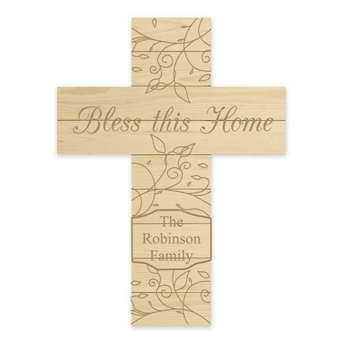 Bless This Home Natural Pine Wood Personalized Wall Cross