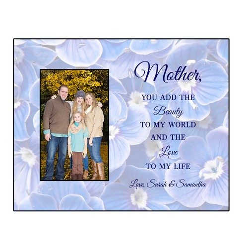 Blue Floral Personalized 4x6 Photo Frame for Mothers
