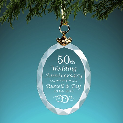 Personalized Wedding Anniversary Crystal Christmas Ornament