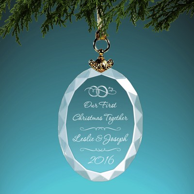 Newlyweds Personalized Crystal Christmas Ornament