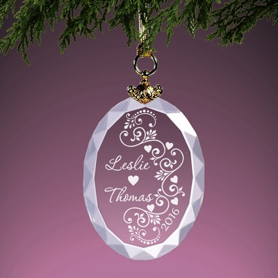 Classic Romance Personalized Crystal Christmas Ornament