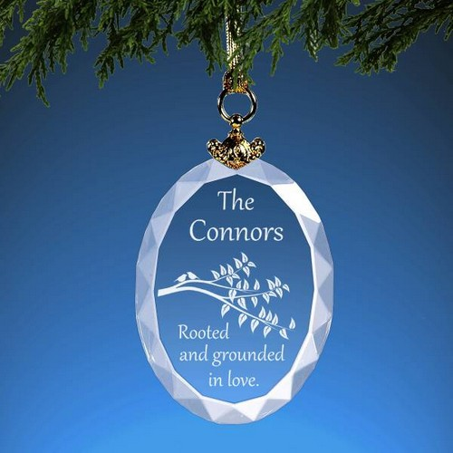 Family Roots Personalized Crystal Christmas Ornament