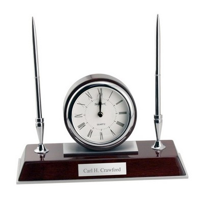 Rosewood Clock and Pen Stand