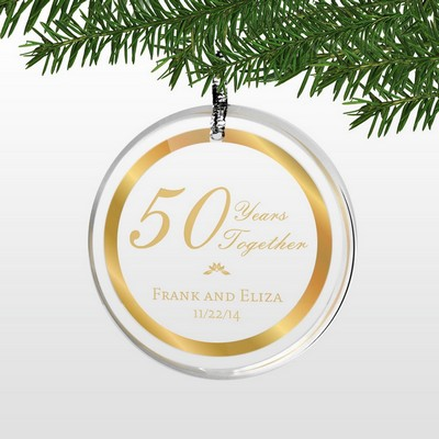 Personalized 50th Wedding Anniversary Round Acrylic Ornament with Gold Rim