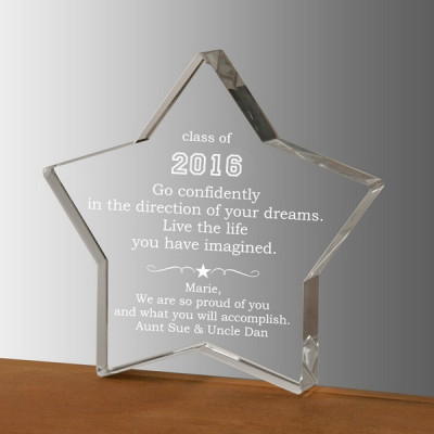 Live Your Dreams Graduation Crystal Star Keepsake