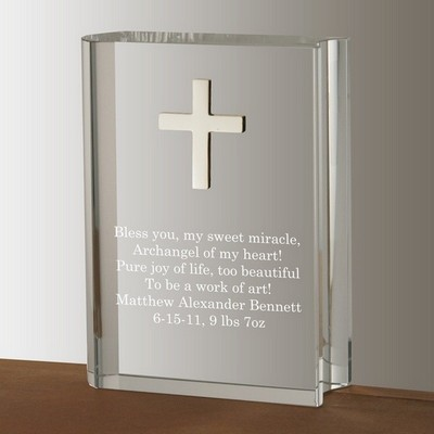 Crystal Book with Silver Cross Keepsake