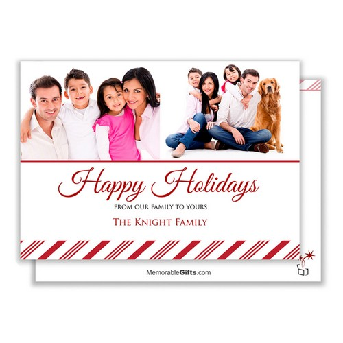 Candy Cane Family Photo Holiday Card