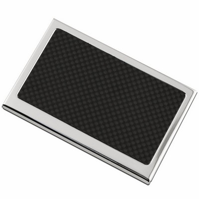 Black Carbon Fiber Top Personalized Business Card Case