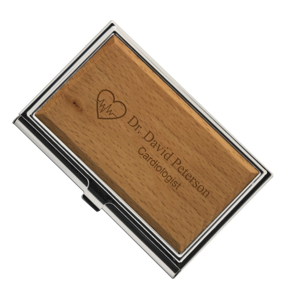 Cardiologists Personalized Wooden Business Card Holder