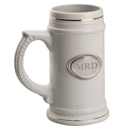 Ceramic Beer stein with Engraved Plate