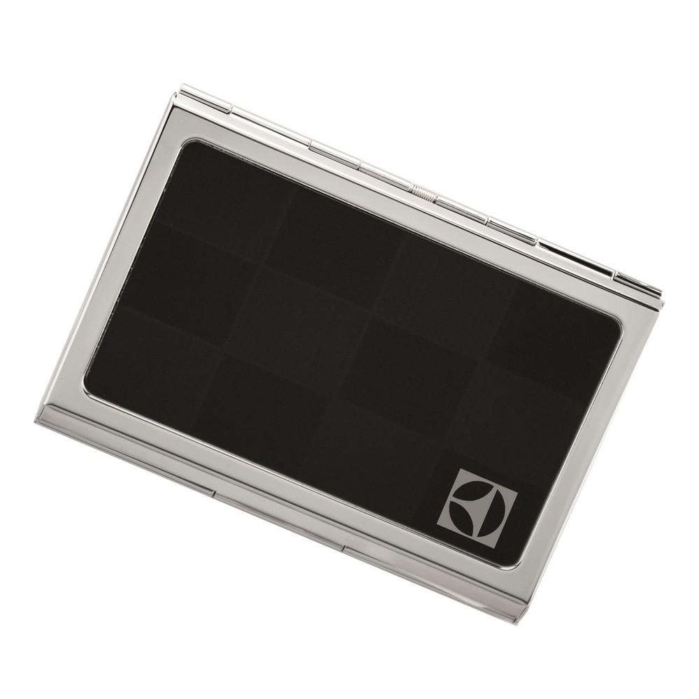 Checkered Logo Engraved Black Business Card Case