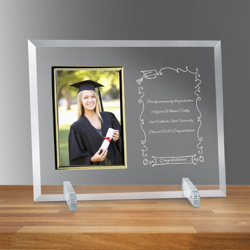 Congratulations Graduate Curved Glass 4x6 Photo Frame