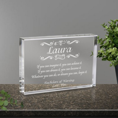Congratulatory Personalized Graduation Crystal Gift Plaque