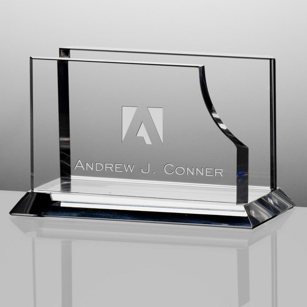 Corporate Crystal Desk Business Card Holder