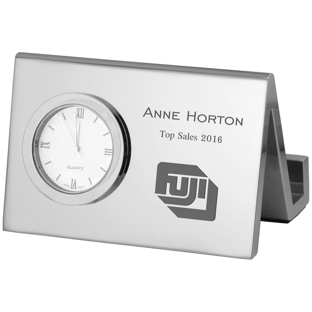 Corporate engraved desk business card holder with clock colourmoves