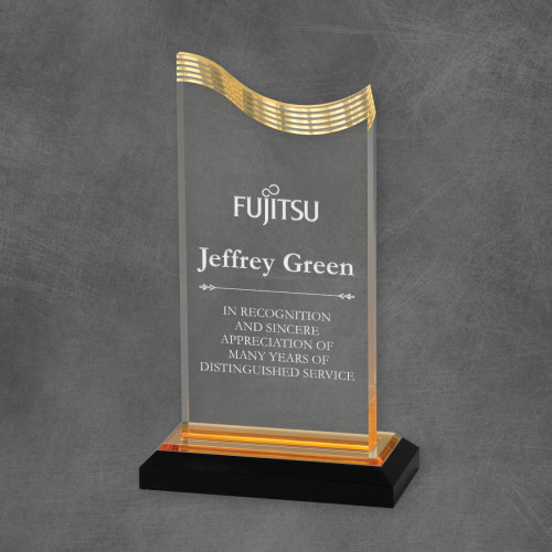 Corporate Gold Accented Acrylic Wave Award
