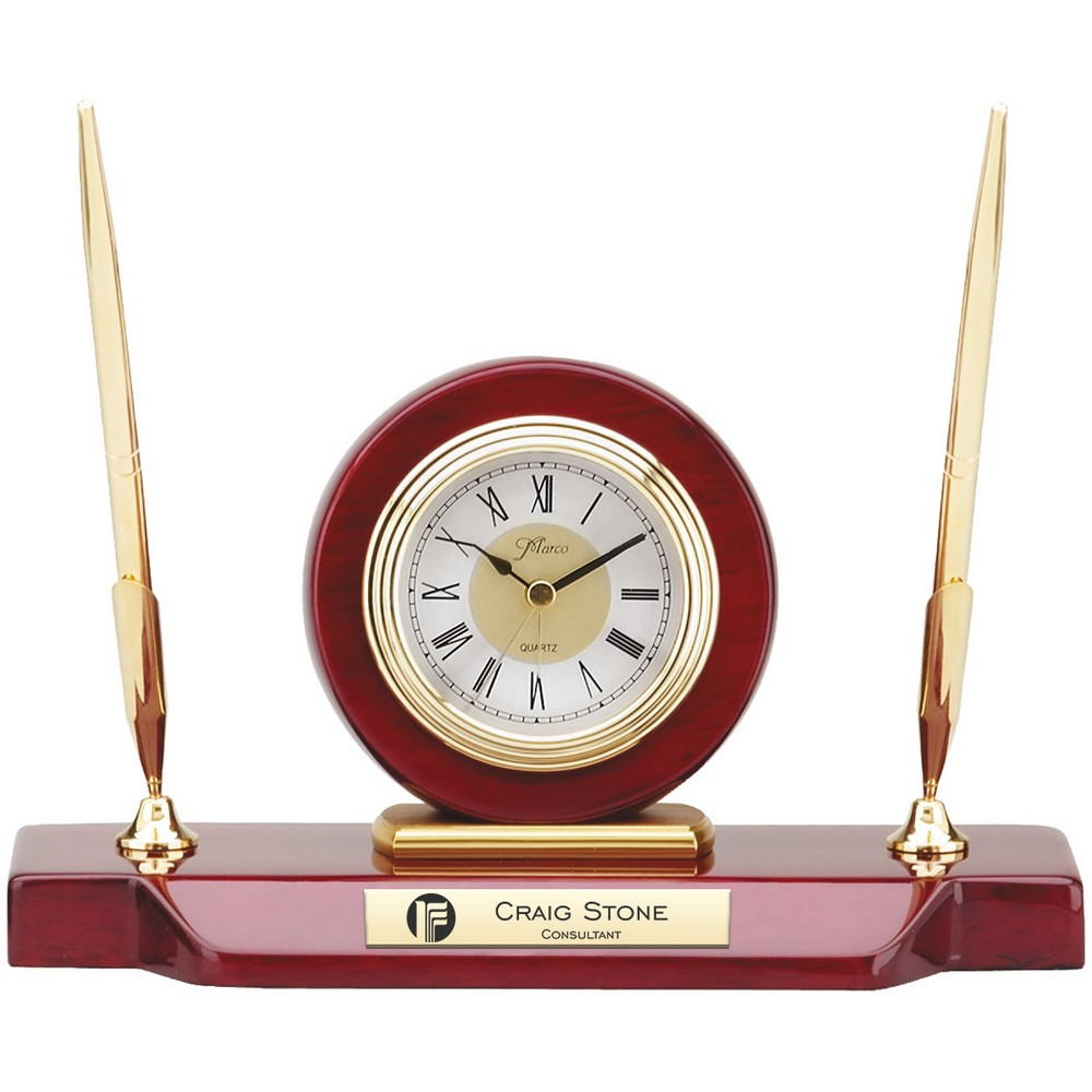 Personalized desk clocks engraved clocks corporate logo double pen stand with clock jeuxipadfo Images