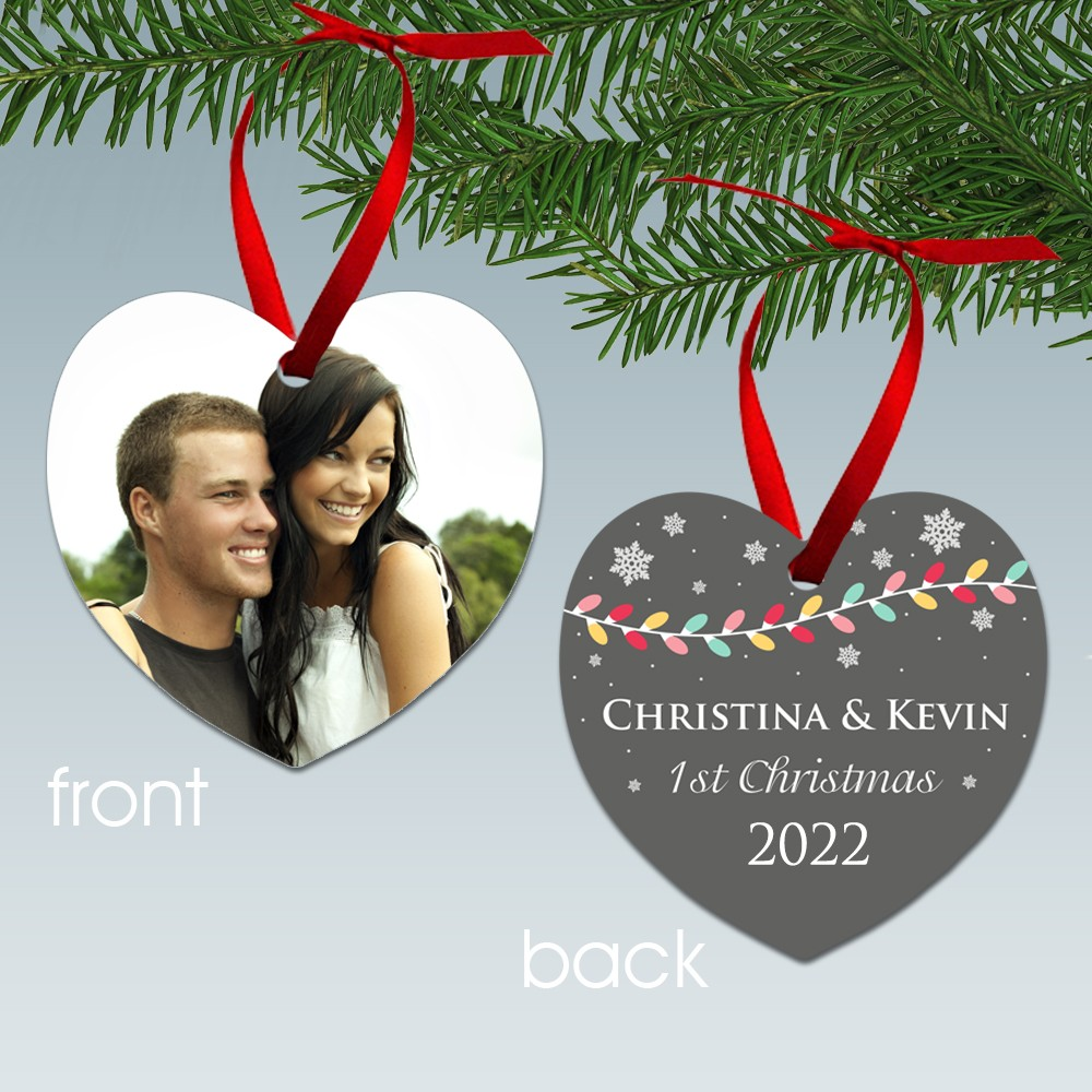 couples first christmas heart shaped aluminum photo ornament - Couples First Christmas Ornament