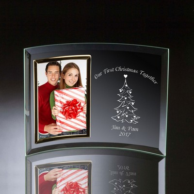 Couples First Christmas Together Curved Glass Vertical 4x6 Photo frame