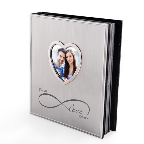 Couples Infinite Love Personalized 4x6 Silver Photo Album