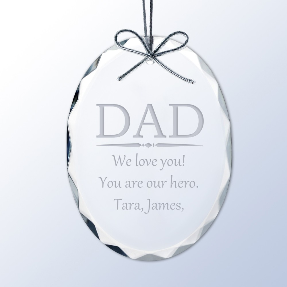 personalized crystal christmas ornament for dad engraved