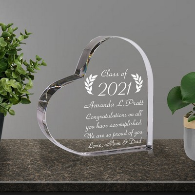 Crystal Heart Personalized Graduation Gift