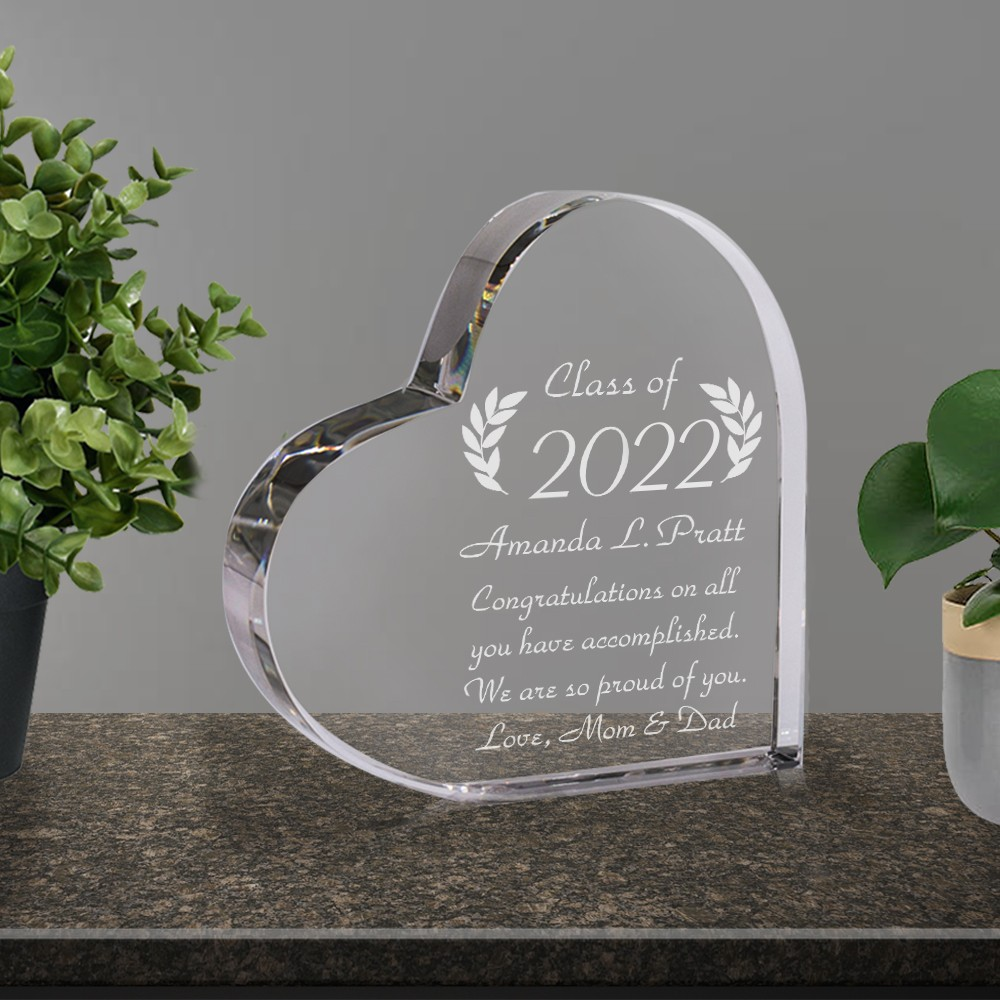 Crystal heart personalized graduation gift negle Image collections