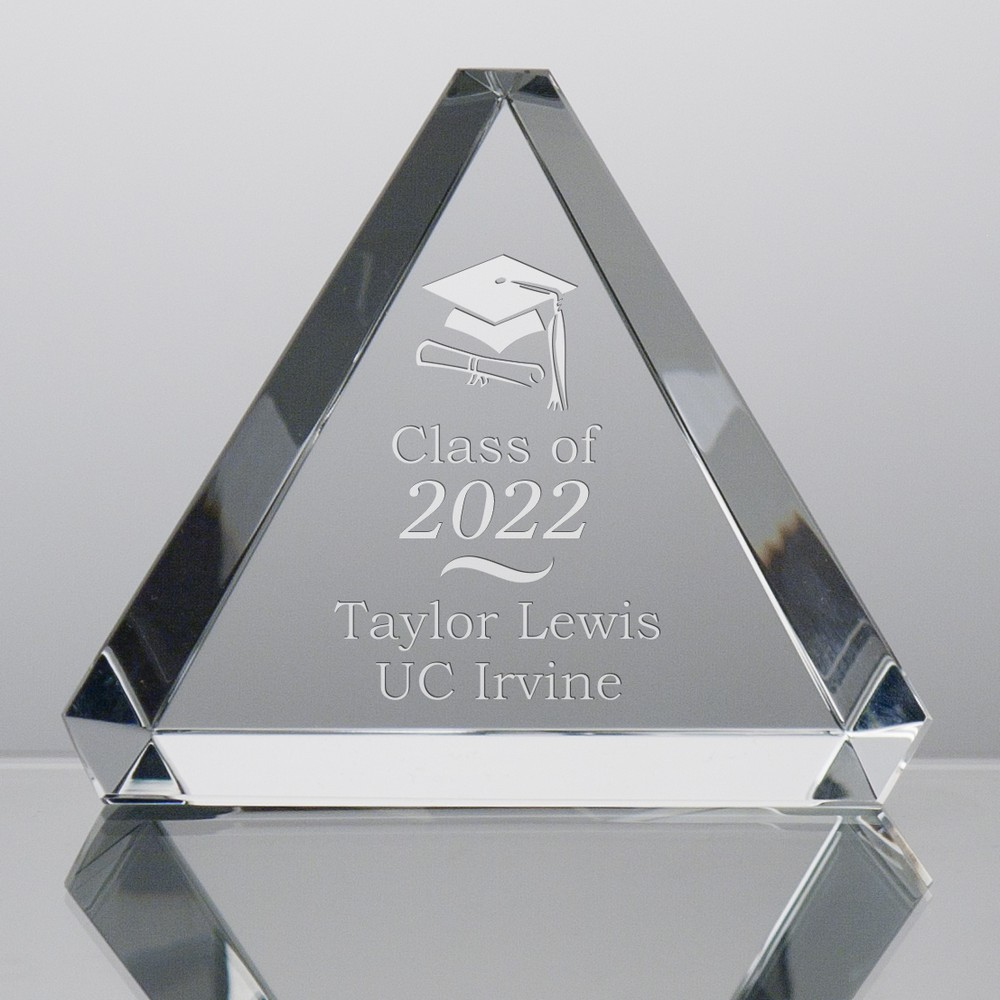 Crystal Triangle Paperweight for Grads 9282_li
