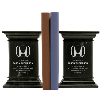 Custom Corporate Logo Black Column Marble Bookends