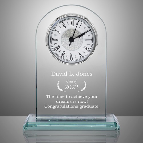 Custom Glass Graduation Award Clock