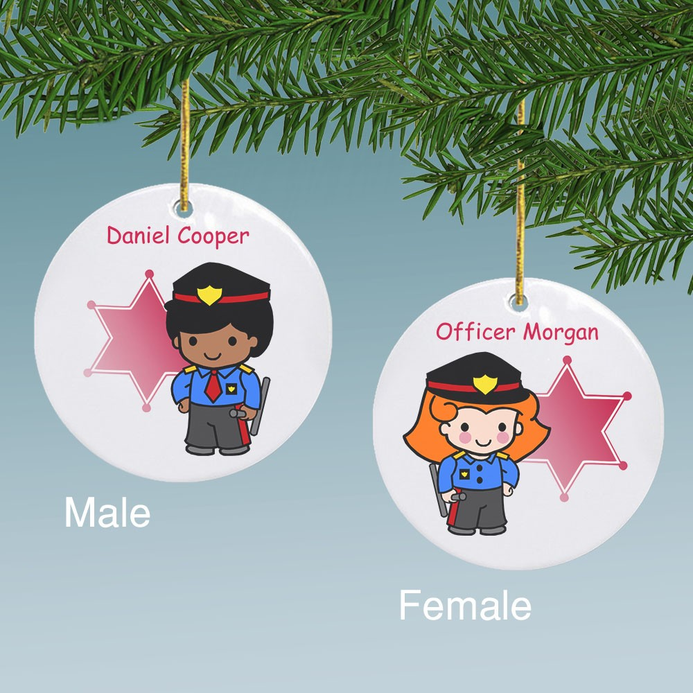 custom police character personalized ceramic ornament