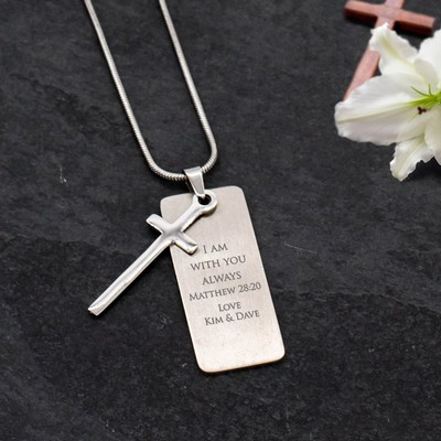 Lovely Personalized Silver Vertical Pendant with Cross Necklace
