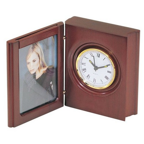 Personalized Rosewood Book Style Clock with Picture Frame