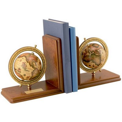 Personalized Globe Bookends on Wood Base