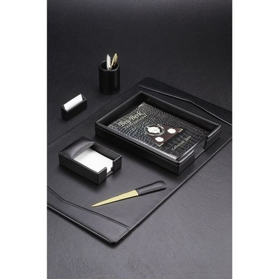 Classic Genuine Black Leather Desk Set with Brass Accent
