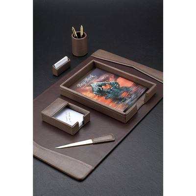 Rugged Brown Leather Executive Desk Set with Brass Accenting