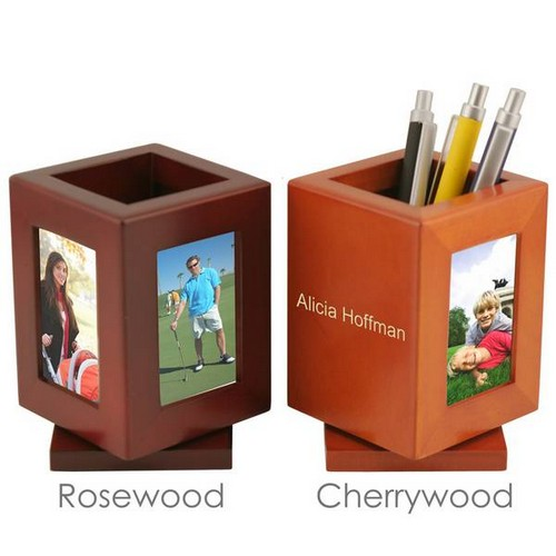 Rotating Personalized Wooden Pencil Cup with 3 Picture Frames