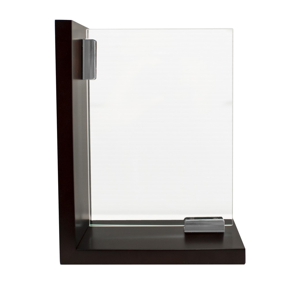 contemporary glass bookend set with photo frames