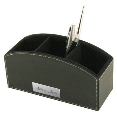 Black Leatherette Desktop Caddy with White Stitching