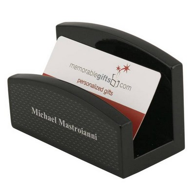 Black Carbon Fiber Look Desktop Business Card Holder